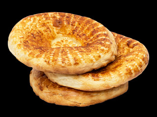 tortilla bread on a black background