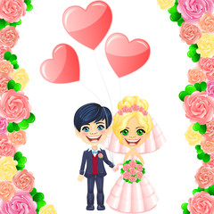 Vector wedding invitation with cute cartoon bride and groom