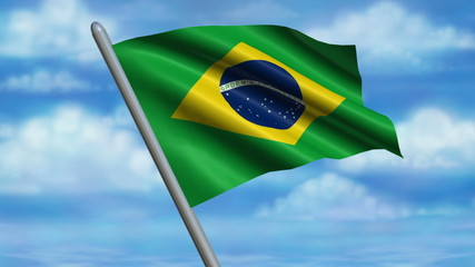 Looping Brazilian Flag animation with sky background