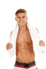 man red white stripe shorts towel smile
