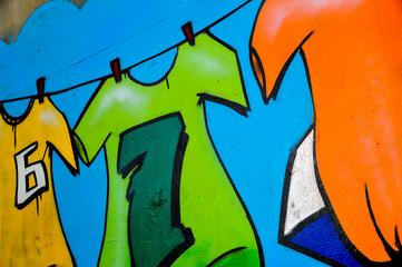 Graffiti wall, colorful background