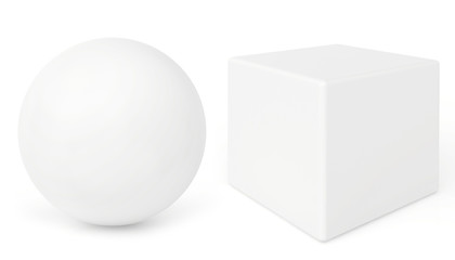 sphere and cube on white background