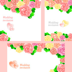 Pink wedding invitation with roses