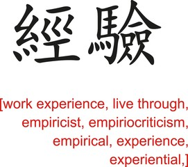 Chinese Sign for work experience, live through, empiricist