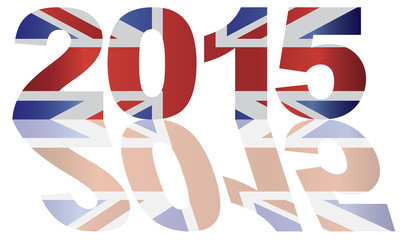 2015 Union jack Flag Numbers Outline Vector Illustration