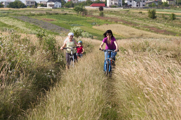 Family riding a bicycles in the meadow