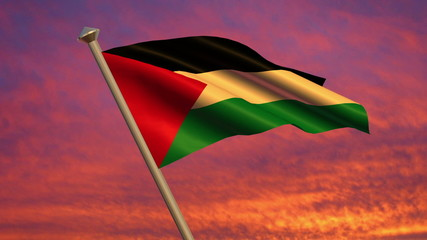 Looping Palestinian Flag animation with sky background