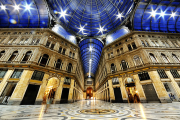 Umberto I gallery by night, Naples, Italy