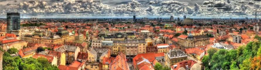 Panorama of Zagreb city in Croatia