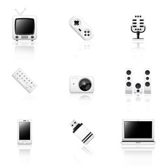 Electronics icons with reflection isolated on white background