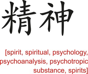 Chinese Sign for spirit, spiritual, psychology, psychoanalysis