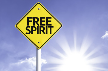 Free Spirit road sign with sun background