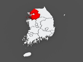 Map of Gyeonggi. South Korea.