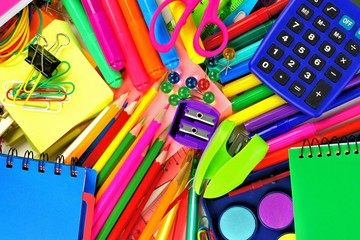 Full background of colorful school supplies