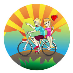 Couple falling in love with riding a bike
