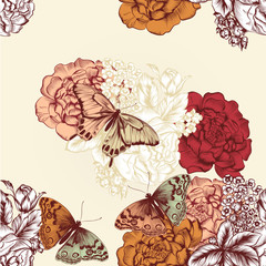 Beautiful seamless wallpaper pattern with flowers