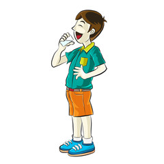 Portrait of teenager drinking a water