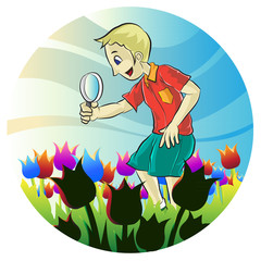 Portrait of male playing magnifying glass
