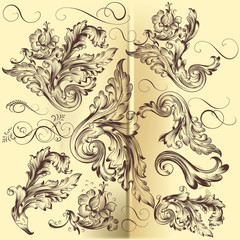 Collection of vector calligraphic swirls