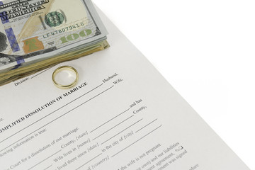 Divorce Form With Stack Of Hundred Dollars Bills