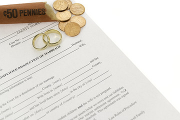 Divorce Form With Roll Of Pennies