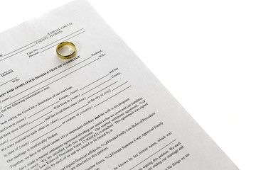 Blank Divorce Form With Single Wedding Ring On White Background