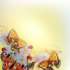 Floral vector background with butterflies and flowers