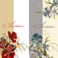 Set of floral invitations