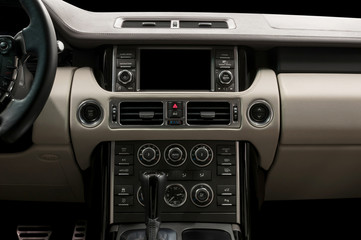 Business car interior. Screen multimedia system.