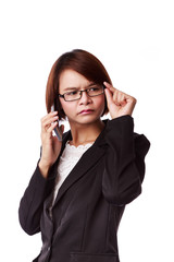 Portrait of  business woman phone talking