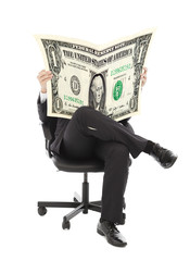 Business man sitting on a chair with American currency