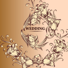 Wedding invitation card in vintage style