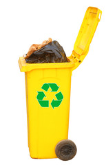Overflowing yellow bin with logo, clipping path.