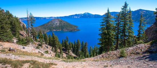 Scenic View of Crater Lake in Oregon