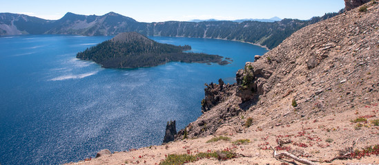 looking Down on Crater Lake in Central Oregon