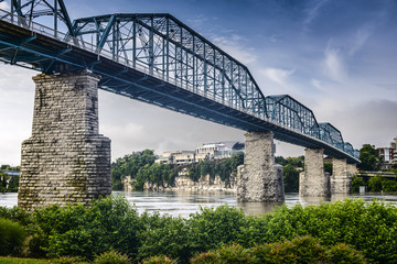 Coolidge Park and Walnut Street Bridge in Chattanooga, Tennessee