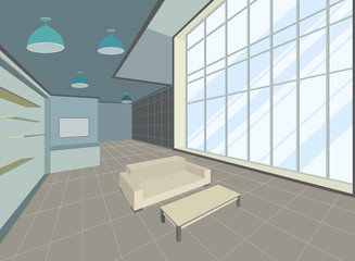 Living room scene interior design vector background