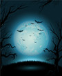 Creepy Halloween night poster full moon copy space - 67690644