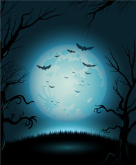 Creepy Halloween night poster full moon copy space