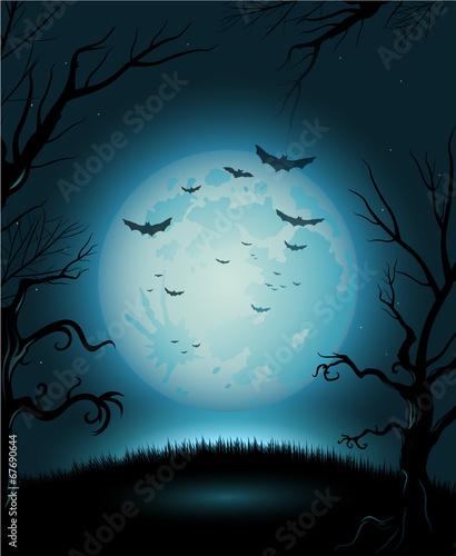 Creepy Halloween night poster full moon copy space - 67690644