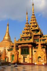 Temples of Shwedagon Pagoda complex, Yangon, Myanmar