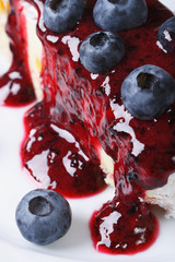 Cheesecake with blueberries and sauce macro vertical