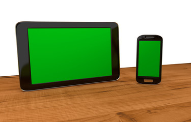 tablet and mobil with blank displays