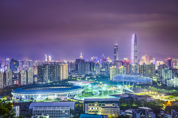 Shenzhen, China Cityscape at Night