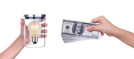 Exchange light bulb of idea and money