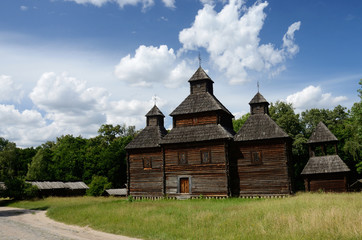 Old Resurrection wooden church from Poltavshina region ,Ukraine,