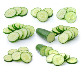 cucumber slice on white background
