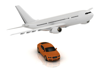 White passenger airliner and orange car