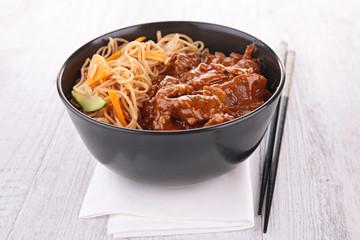 noodles and beef