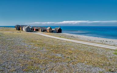 Helgumannens fishing village on Faro island in the Baltic sea